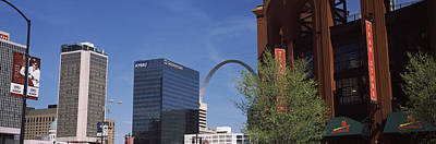 Busch Stadium And Gateway Arch In St Poster by Panoramic Images
