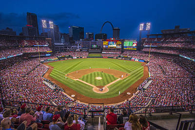 Busch Stadium St. Louis Cardinals Night Game Poster by David Haskett