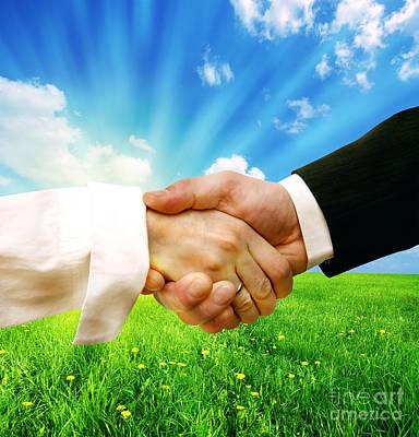 Business Handshake On Nature Background Poster by Michal Bednarek