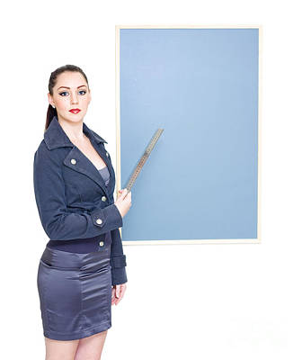 Business Marketing Woman Displaying Text Copyspace Poster by Jorgo Photography - Wall Art Gallery