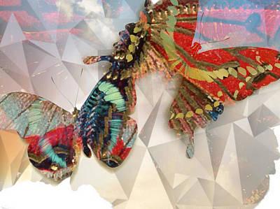 Butterflies Geometric Poster by Lynda Payton