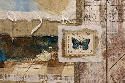 Butterfly And Blue Collage Poster by Carol Leigh