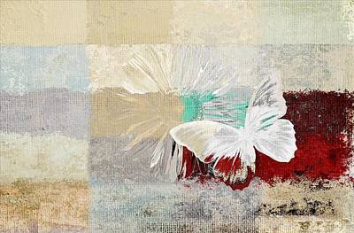 Butterfly And Daisy - 140109109w1t2a Poster by Variance Collections