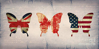 Butterfly Collection Flags 2 Poster by Steffi Louis
