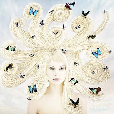 Butterfly Girl Poster by Linda Lees