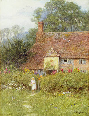 By The Cottage Gate Wc On Paper Poster by Helen Allingham