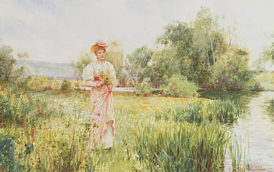 By The River Poster by Alfred I Glendening