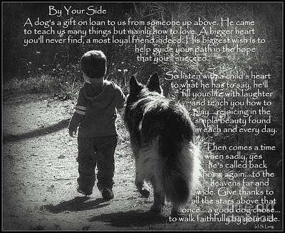 By Your Side Paw Print Poster by Sue Long