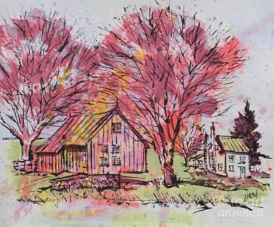 Cabin Hallow Road Farm Poster by Larry Lerew