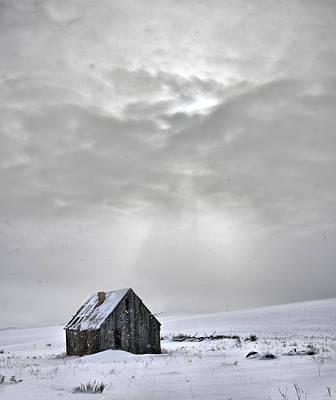 Cabin In Winter Poster by Leland D Howard