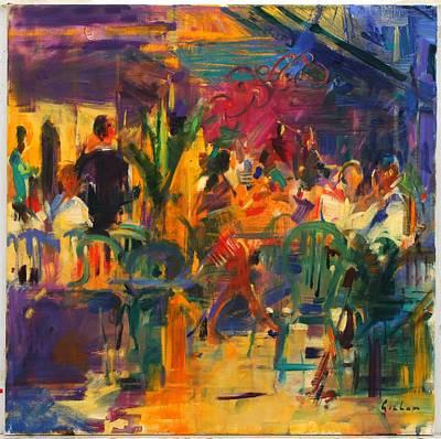 Cafe De La Place, St Paul De Vence Oil On Canvas Poster by Peter Graham