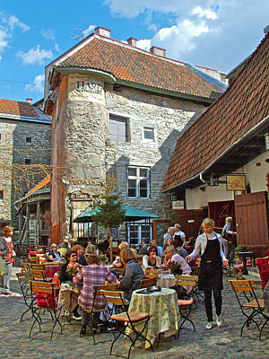 Cafe On A Side Street In Old Town Tallinn-estonia Poster by Ruth Hager