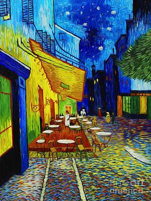 Cafe Terrace At Night Poster by Robert Roberts