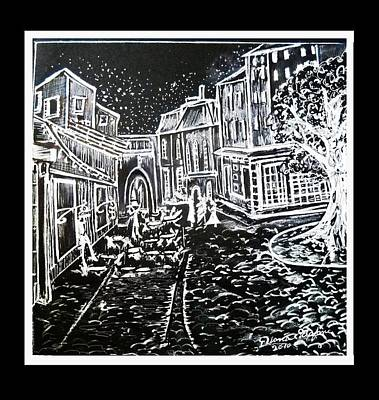 Cafe Terrace In Black And White Poster by Diana Sclafani