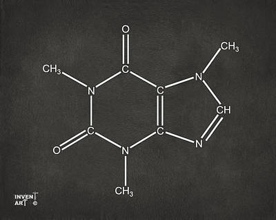 Caffeine Molecular Structure Gray Poster by Nikki Marie Smith