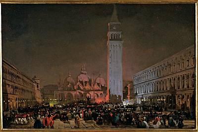 Caffi Ippolito, Venice. Carnival Night Poster by Everett