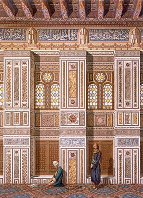 Cairo Interior Of The Mosque Poster by Emile Prisse d'Avennes