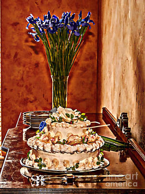 Cake And Purple Irises Poster by Amanda Collins
