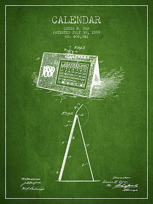 Calendar Patent From 1889 - Green Poster by Aged Pixel