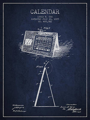 Calendar Patent From 1889 - Navy Blue Poster by Aged Pixel