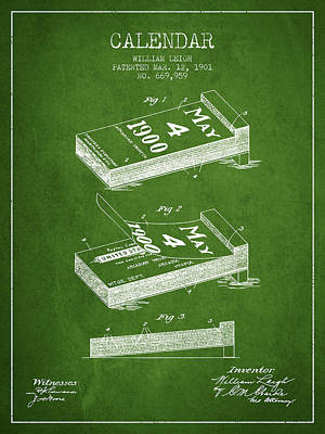 Calendar Patent From 1901 - Green Poster by Aged Pixel