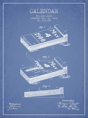 Calendar Patent From 1901 - Light Blue Poster by Aged Pixel