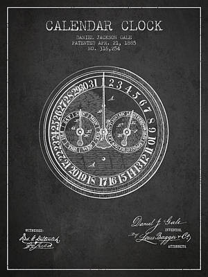 Calender Clock Patent From 1885 - Charcoal Poster by Aged Pixel