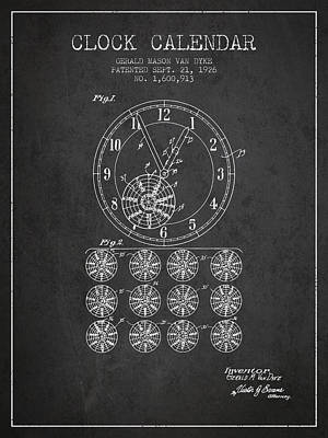 Calender Clock Patent From 1926 - Charcoal Poster by Aged Pixel