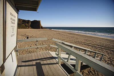 California Lifeguard Shack At Zuma Beach Poster by Adam Romanowicz