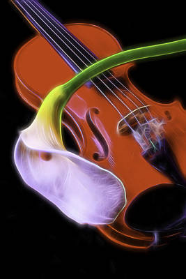 Calla Lily With Violin Poster by Garry Gay