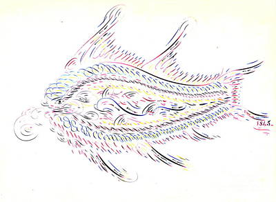 Calligraphic Fish 1845 Poster by Padre Art