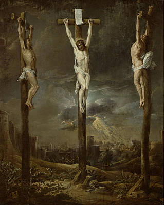Calvary Oil On Card Poster by David the Younger Teniers