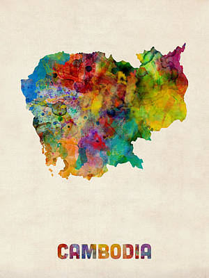 Cambodia Watercolor Map Poster by Michael Tompsett
