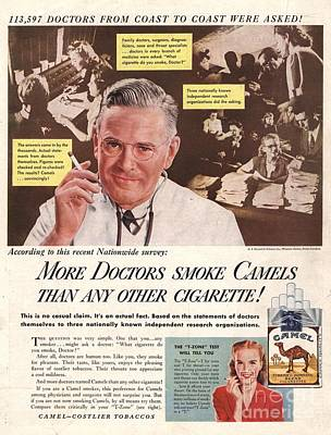 Camels 1946 1940s Usa Cigarettes Poster by The Advertising Archives