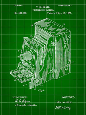 Camera Patent 1887 - Green Poster by Stephen Younts