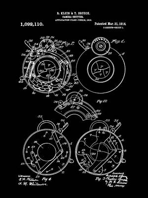 Camera Shutter Patent 1910 - Black Poster by Stephen Younts