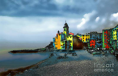 Camogli Italy Beachside Poster by Linda  Parker