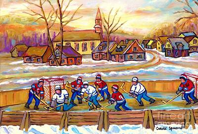 Canadian Village Scene Hockey Game Quebec Winter Landscape Outdoor Hockey Carole Spandau Poster by Carole Spandau