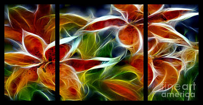 Candy Lily Fractal Triptych Poster by Peter Piatt