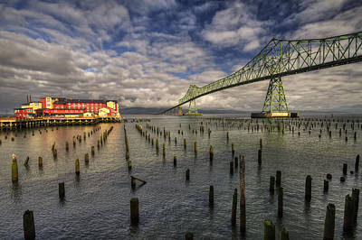 Cannery Pier Hotel And Astoria Bridge Poster by Mark Kiver