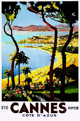Cannes Vintage Travel Poster Poster by Jon Neidert