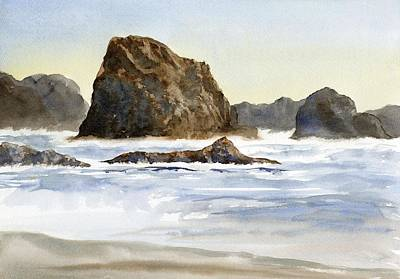 Cannon Beach Rocks With Waves Poster by Sharon Freeman