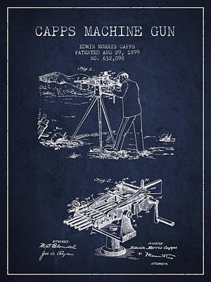 Capps Machine Gun Patent Drawing From 1899 - Navy Blue Poster by Aged Pixel