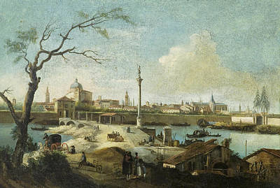 Capriccio With The View Of Padua Poster by Giuseppe Bernardino Bison