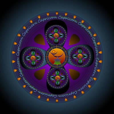 Capricorn Mandala Poster by Sarah  Niebank