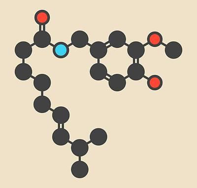Capsaicin Chili Pepper Molecule Poster by Molekuul