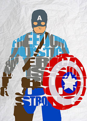 Captain America Inspirational Power And Strength Through Words Poster by Marvin Blaine