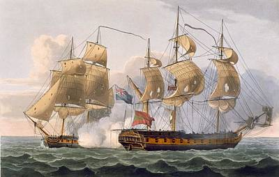 Capture Of The Liguria Poster by Thomas Whitcombe