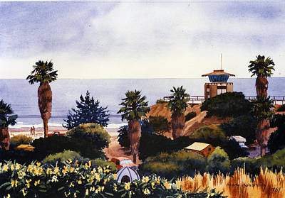 Cardiff State Beach Poster by Mary Helmreich
