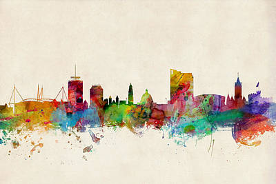 Cardiff Wales Skyline Poster by Michael Tompsett